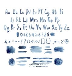 Dark Blue Watercolor Alphabet Hand Drawn vector image