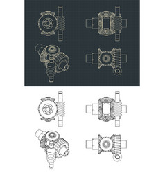 Differential gear system with worm gear drawings vector
