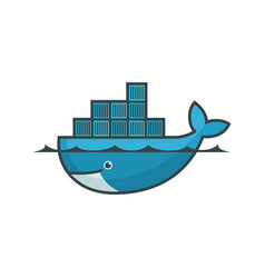 Docker emblem blue whale with few containers vector