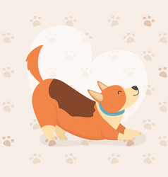 dog mascot character with heart and paw prints vector image