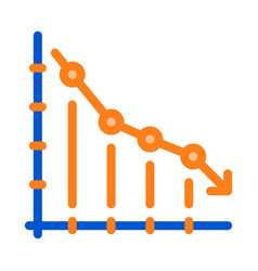falling chart icon outline vector image