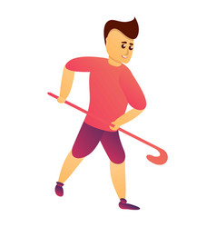 field hockey young player icon cartoon style vector image