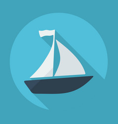 Flat modern design with shadow sailboat vector
