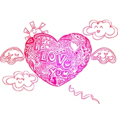 Flying I LOVE YOU heart with doodles vector image