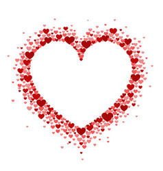 Frame of red hearts in the shape of a hart vector