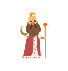 Funny bald bearded majestic king character cartoon vector