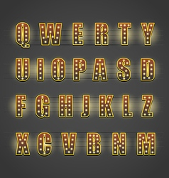 Glowing letters collection Design elements vector