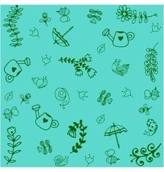 Green garden doodle art vector