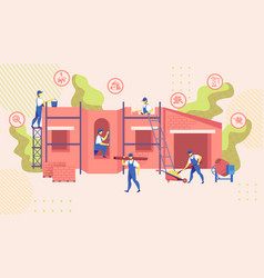 group engineers build new building construction vector image