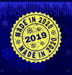 grunge made in 2020 stamp seal on winter vector image