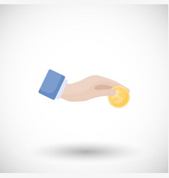 hand with coin donation charity flat icon vector image