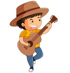 Happy boy playing guitar vector