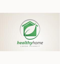 healthy home house eco friendly logo design vector image