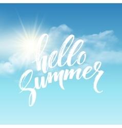 heloo summer brush lettering on cloud vector image