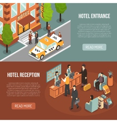 Hotel Entrance Reception 2 Isometric Banners vector image
