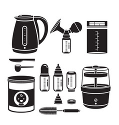 Icons set of equipment for feeding baby vector