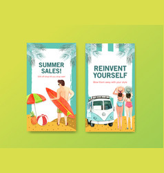 Instagram summer template design for vacation vector