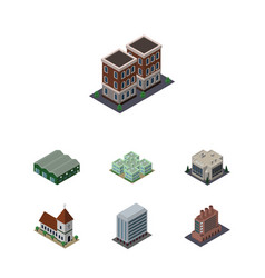 Isometric architecture set of clinic chapel vector