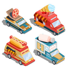 isometric of cars fast delivery of vector image