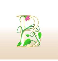 Letter B with an vintage floral pattern vector image