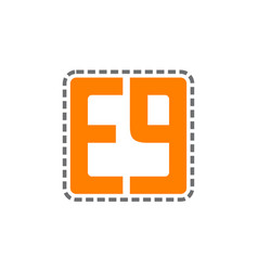 Letter e g embroidery vector