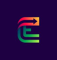 letter e logo with arrow inside vector image