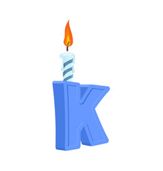 letter k birthday font letter and candle vector image