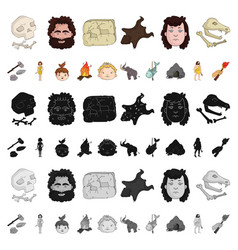 life in the stone age cartoon icons in set vector image