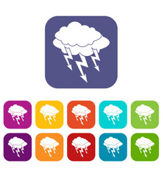 Lightning bolt icons set flat vector