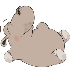 Little to hippopotamus blindly lays on a back vector image vector image