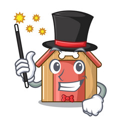 Magician mascot dog house of wood home vector