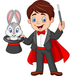 Magician pulling out a rabbit from his top hat vector