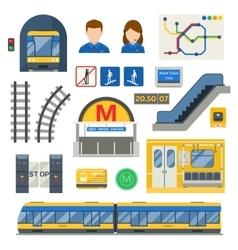 Metro underground symbols set vector