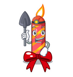 miner christmas candle combined with pita cartoon vector image