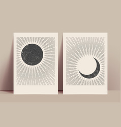 minimalistic abstract sun and moon mystic posters vector image