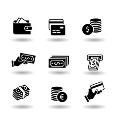 money and payment solid black icon set euro and vector image