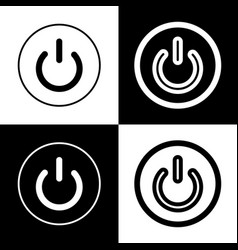 On off switch sign black and white icons vector