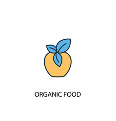 organic food concept 2 colored line icon simple vector image
