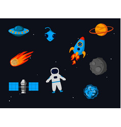 outer space related objects set isolated on starry vector image