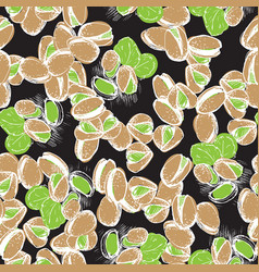 Pistachio hand draw seamless background pistachio vector