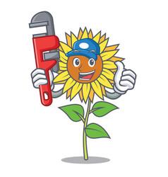 Plumber sunflower mascot cartoon style vector