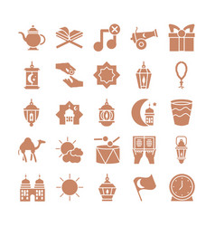 Ramadan concept icons set silhouette style vector