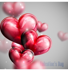 Red balloon hearts with shiny sparkles vector