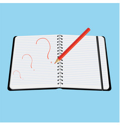 red pencil draws in notepad question mark vector image
