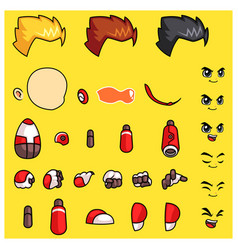 Red robot body parts game sprites vector