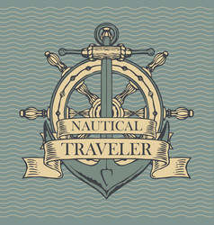 Retro travel banner with ship anchor and helm vector