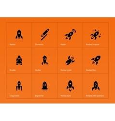 Rocket ship icons on orange background vector