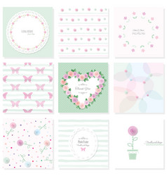 romantic design elements set included seamless vector image