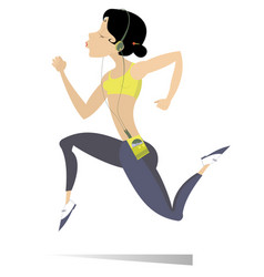Running young woman isolated vector