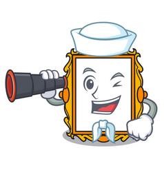 Sailor with binocular picture frame mascot cartoon vector